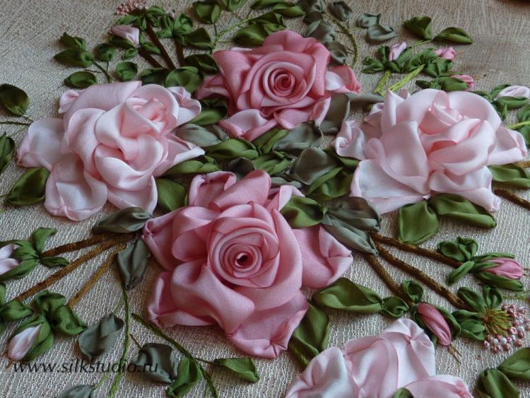 Античная роза вышивка лентами
