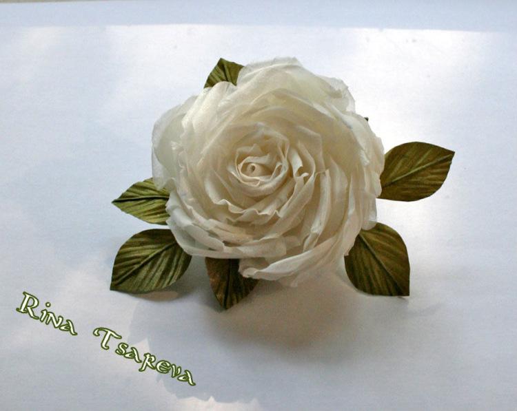 Сделать белые розы