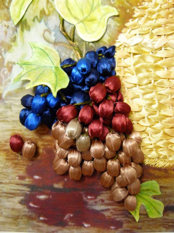 Вышивка винограда лентами 14