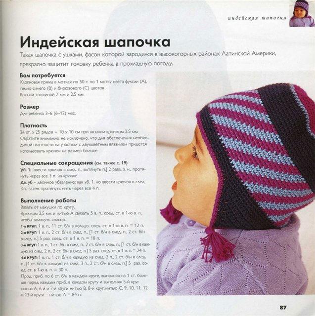 Вязание шапочки с ушками для новорожденного мальчика 16