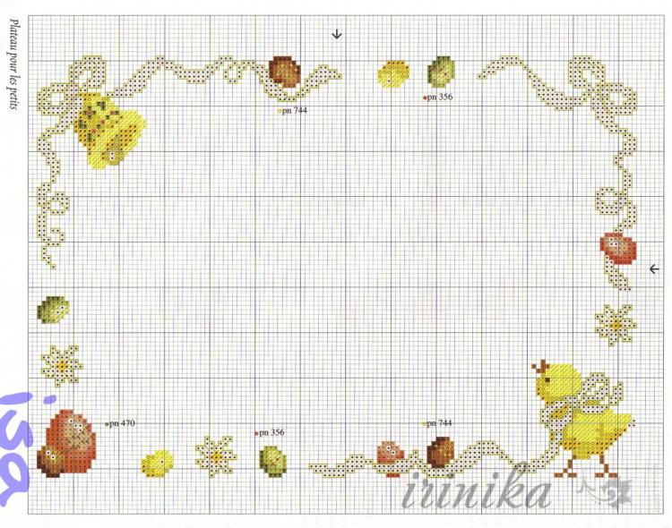 Пасхальная салфетка схема вышивки 39