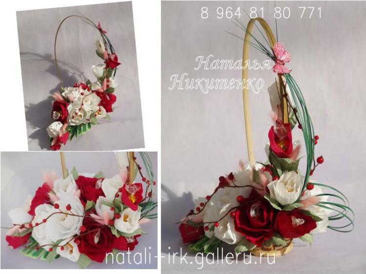 Как собрать корзину с цветами из конфет своими руками