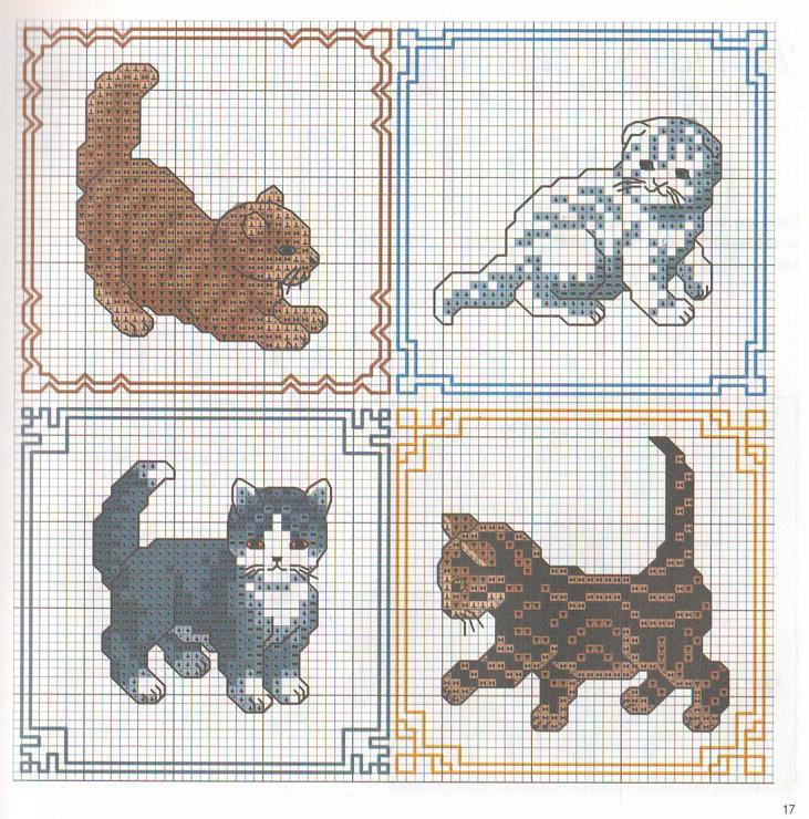 Вышивка крестиком кошек схемы