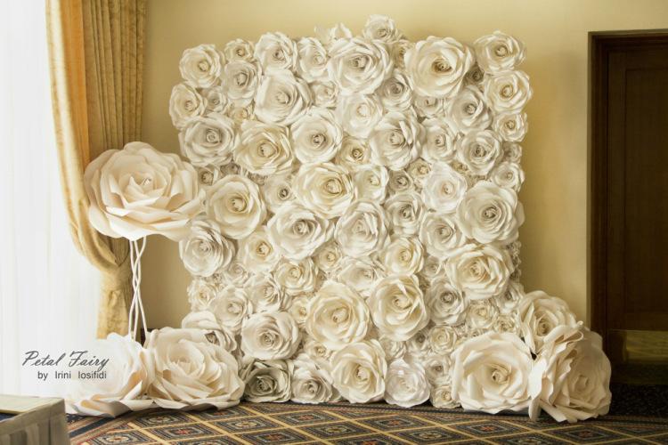 Бумажные объемные цветы на стену