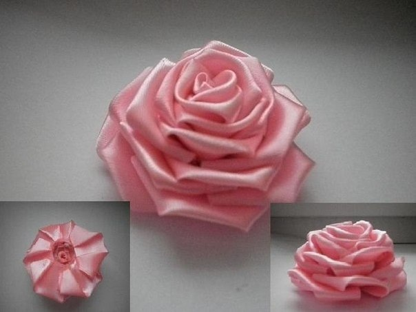 Цветы из ленты мастер класс фото