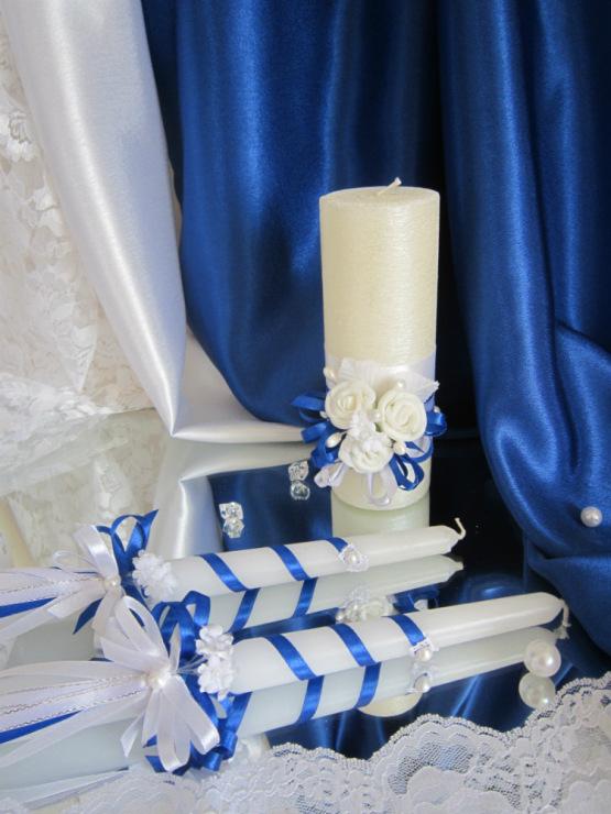 Свадебные свечи  фото синего цвета