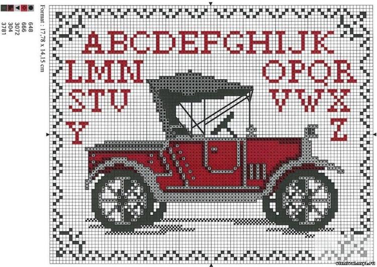 Автомобиль схема вышивки крестом 77