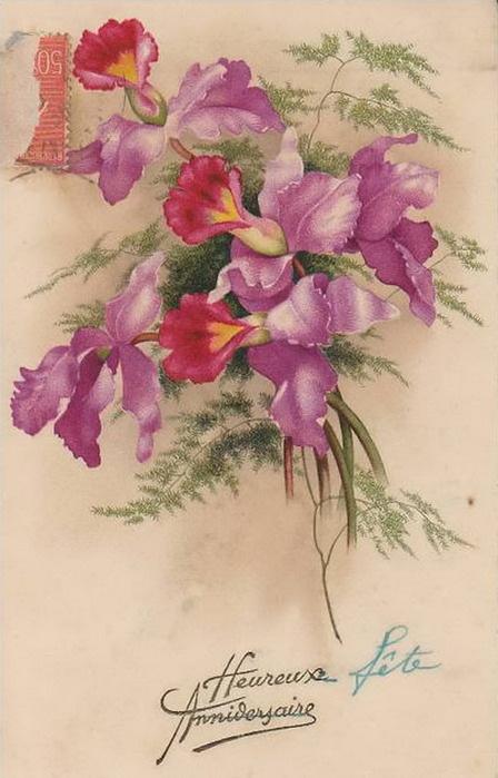Язык цветов старинные открытки 96