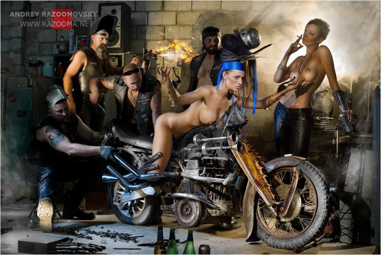 порно з байкером фото