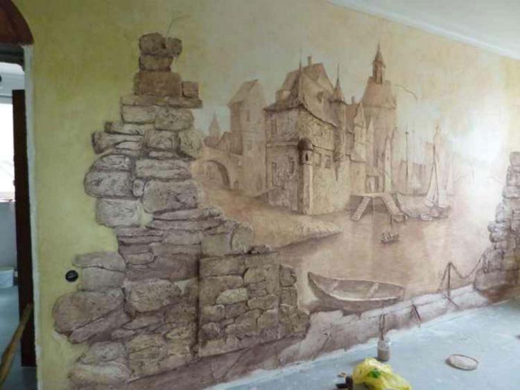 Рисунок из гипса на стене мастер класс